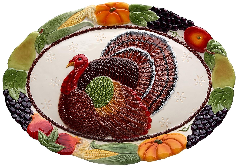 Cosmos 10713 Gifts Turkey Design Ceramic Platter, 18-Inch redfox термобелье костюм детский cosmos малиновый