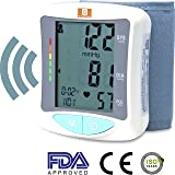 Wrist blood pressure machine FDA approved Large LCD display Fully Digital Voice read out feature Heartbeat detection Two user memory mode 120 readings Portable case large cuff size fits all (Tamaño: large)