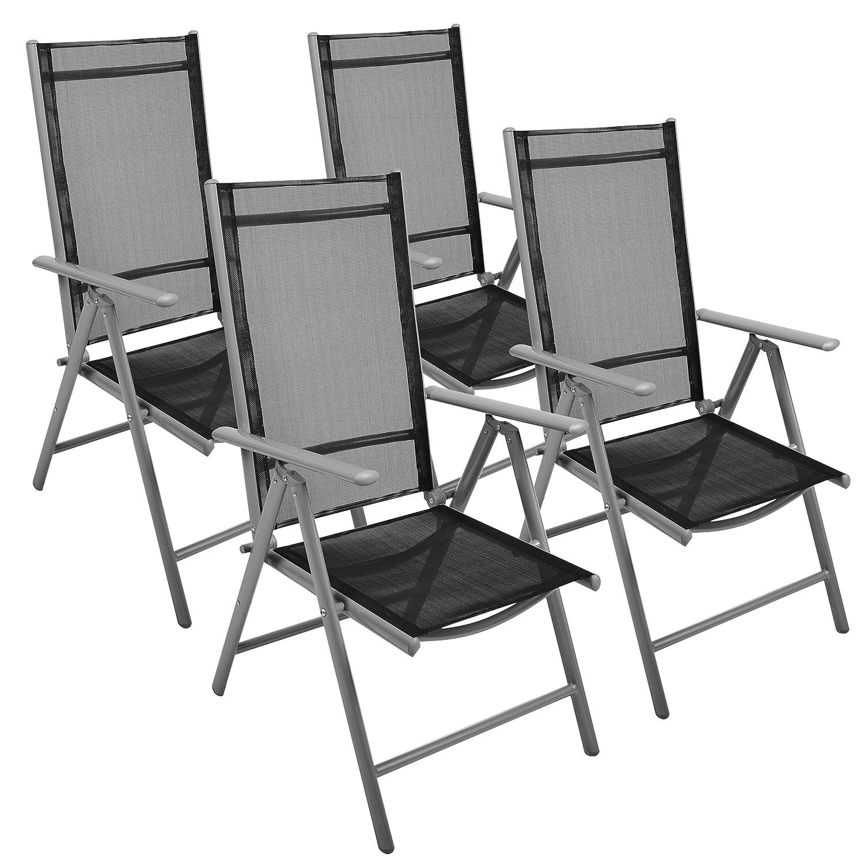 Nexos 4-er Set Stuhl, Klappstuhl, Gartenstuhl, Hochlehner für Terrasse, Balkon, Camping Festival, aus Aluminium verstellbar leicht, stabil, schwarz günstig kaufen