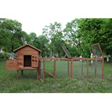 ECOLINEAR 120'' Chicken Hutch w/Run Cage Outdoor Hen House Poultry Pet Wooden Coop Nest Box Garden Backyard (Tamaño: 80