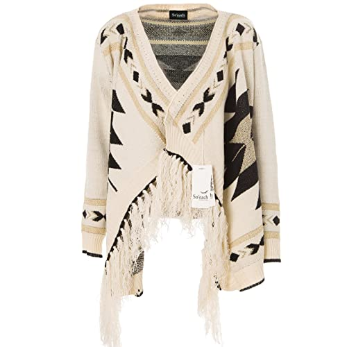 Soeach Womens Aztec Tribal Geometric Patterns Tassels Cardigan Knit Sweater