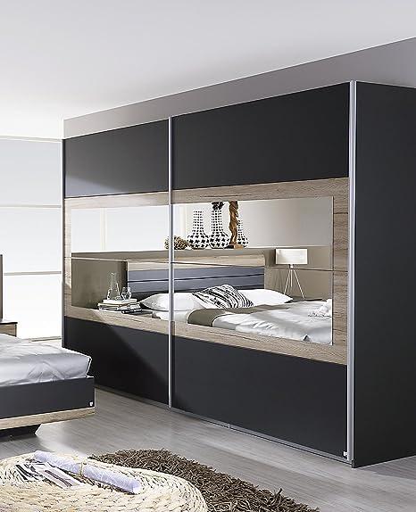 Kleiderschrank grau-metallic/ Eiche Sanremo hell