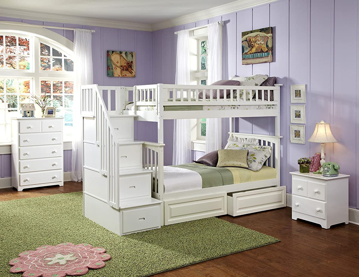 Columbia Staircase Bunk Bed with 2 Raised Panel Bed Drawers, Twin Over Twin, White
