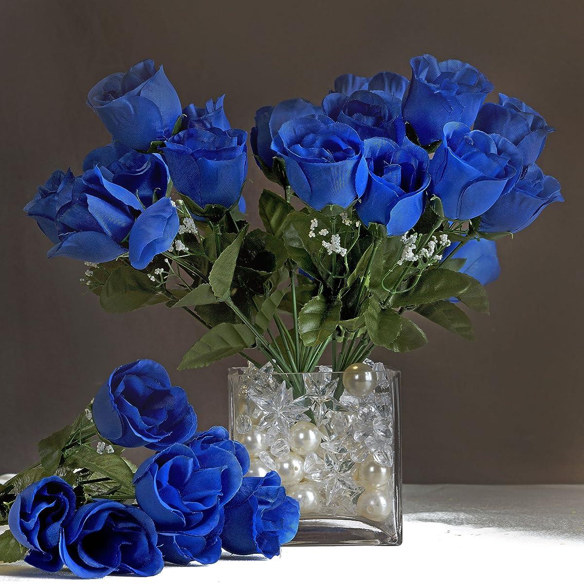 Efavormart 84 Artificial Buds Roses Wedding Flowers Bouquets SALE - Royal Blue