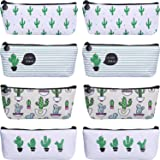 TecUnite 8 Pieces Pen Case Pencil Bag Canvas Pencil Pen Case Pen Holder Cosmetic Makeup Bag Set (Cactus Style)