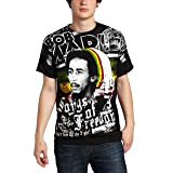 Zion Rootswear Men's Bob Marley Short Sleeve Freedom T-Shirt,Black, Large (Color: Black, Tamaño: Large)