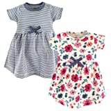 Touched by Nature Baby Girls' Organic Cotton Dress, Floral Stripe Short Sleeve 2-Pack 18-24 Months (24M) (Color: Floral Stripe Short Sleeve 2-pack, Tamaño: 18-24 Months (24M))
