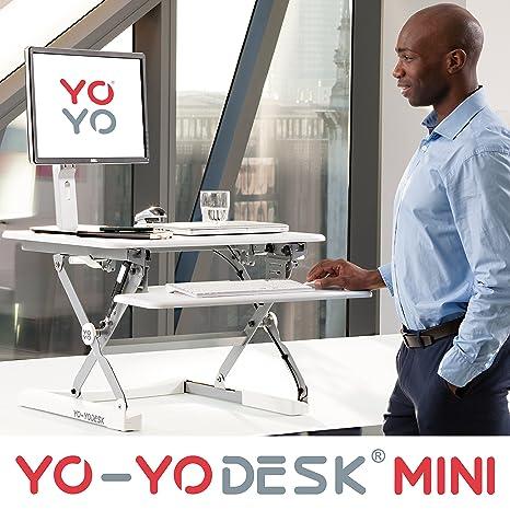 Yo-Yo Desk MINI (Blanc) - Meilleure vente des bureaux réglables en hauteur (68 cm de largeur). Bureau assis-debout, adaptable à tous les postes de travail.