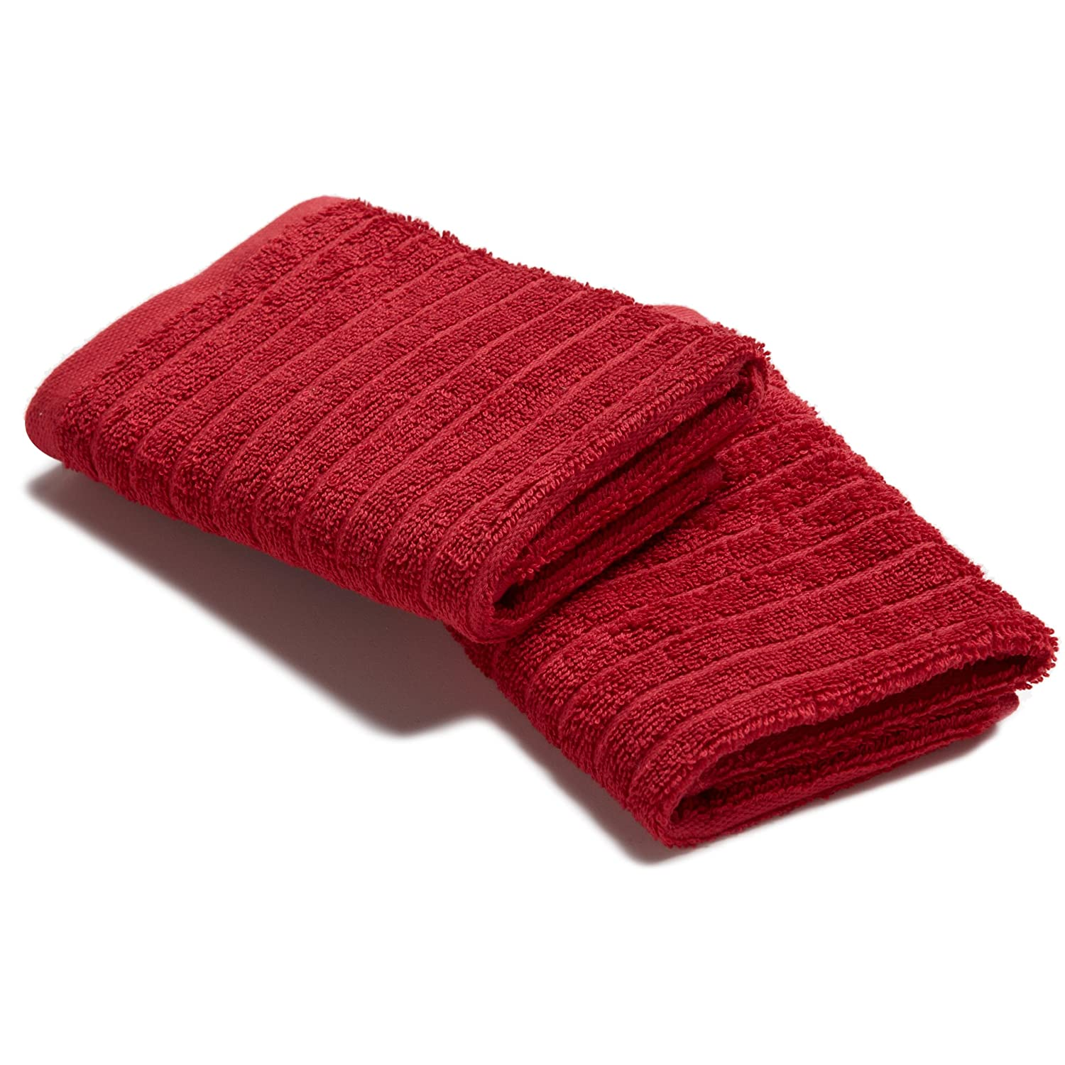 Danica Studio Aegean Wash Cloth, 12 by 12-Inch, Chili Red, Set of 2 - Made in turkey of 100-percent turkish long strand cotton