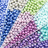 TOAOB 500pcs 6mm Round Tiny Satin Luster Glass Pearl Beads Multi Colors Loose Beads Wholesale for Jewelry Making (Color: Multi, Tamaño: 6mm)