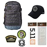 5.11 Kits Rapid Origin Molle Tactical Backpack, Hat, Patches, and Decals Set - Army/Military Pack - Coal