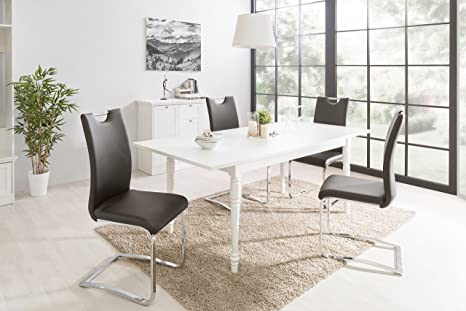 Intertrade 2070 Aura 57 Table à rallonge MDF Blanc 160 x 75 x 90 cm