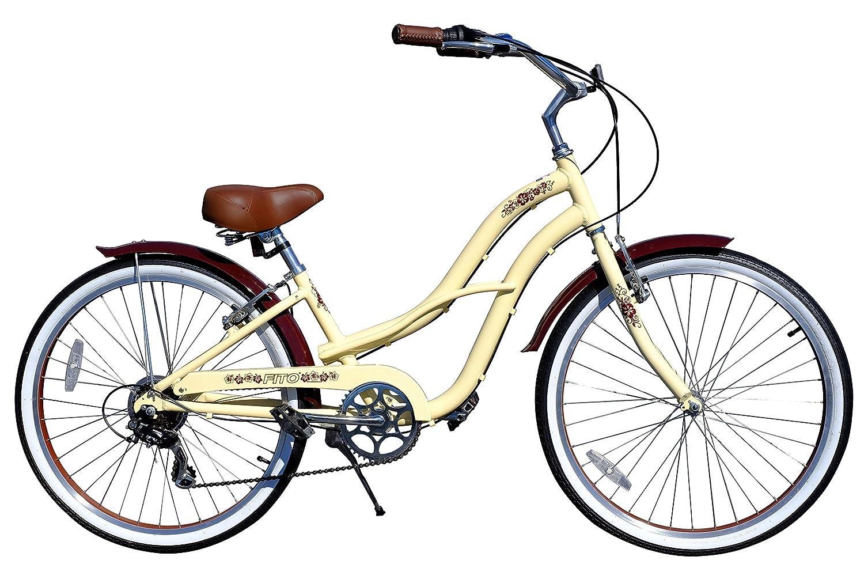 Fito Brisa SF Alloy 7-Speed Women's Wheel Beach Cruiser Bike, Yellow, 16/One Size
