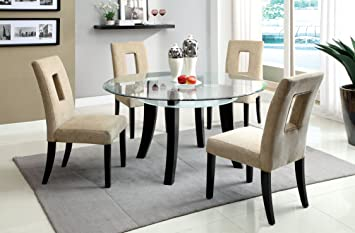 Furniture of America Valleri 5-Piece Round Dining Table Set with 8mm Beveled Tempered Glass Top, Espresso Finish