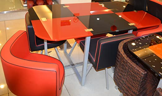MODERN MIAMI DINING TABLE WITH 6 CHAIRS (RED AND BLACK)