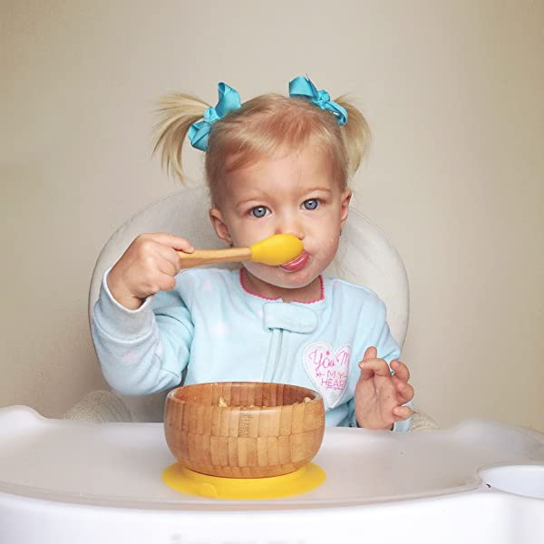 """Avanchy Stay Put Suction Ring Bamboo Bowl with Spill Proof Green Baby Feeding Bowl and Spoon Set 5/"""" /× 3/"""" Bowl Size"""