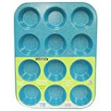 casaWare Ceramic Coated NonStick 12 Cup Muffin Pan (Blue Granite) (Color: Blue Granite)