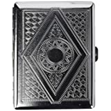 Victorian Era Crush Proof Chrome Cigarette Case (Hold King Size and 100mm) (Color: chrome, Tamaño: 1 PACK)