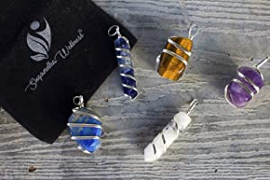 Natural Lapis Lazuli Crystal Healing Necklace - for Throat Chakra. Enhances Self-Help & Personality Growth. Self Expression Natural Stress Aid Soothe Mind Emotions. with Stylish Stainless Steel Chain (Color: Blue)