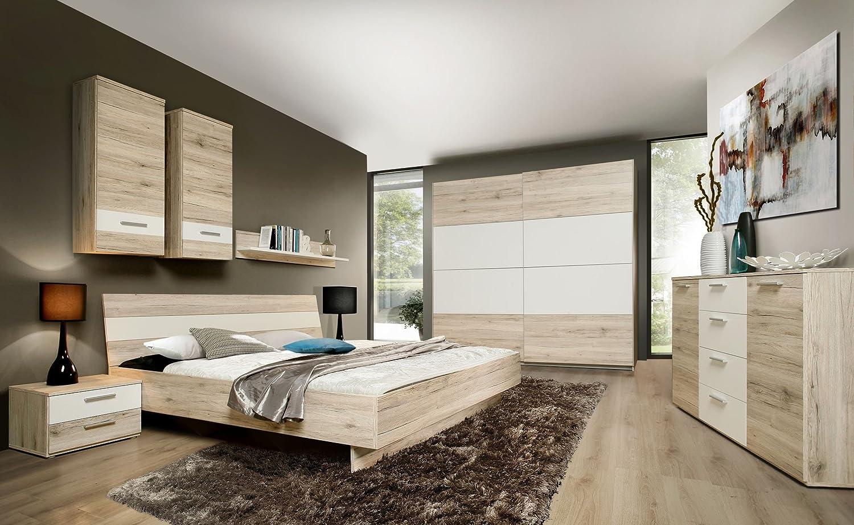 Schlafzimmer mit Bett 180 x 200 cm Sandeiche/ weiss günstig bestellen