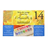 Sennelier L'Aquarelle French Honey Based Watercolor Paint, Portable Travel Set Of 14 Half Pans With Brush - Beautiful Colors For Artists To Add To Their Art Supplies (Color: 14 Half Pans, Tamaño: Set)