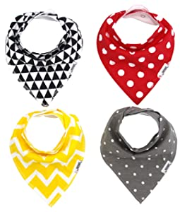 Matimati Baby Bandana Drool Bibs with Snaps, 4-Pack Super Absorbent Organic Cotton, Unisex Baby Gift