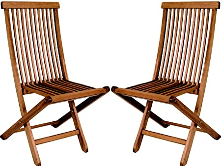 BUTZKE Mestra 2-Piece Folding Bistro Chair made from Eucalyptus Wood, Set of 2 in Brown