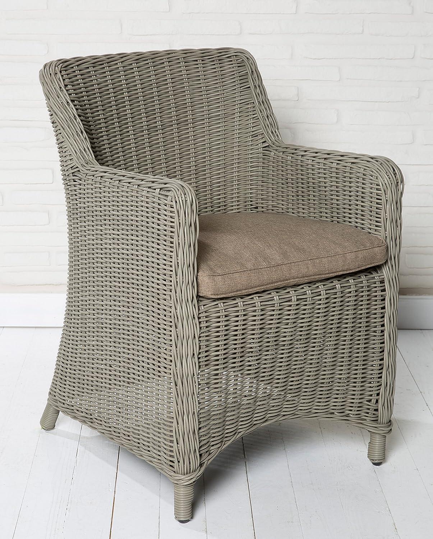 4x Hochwertiger Polyrattan Gartenstuhl Sessel Rattan Stuhl Gartenstühle Gartenmöbel Gartensessel Loungesessel Relaxsessel Positiosstuhl Gartenstühle Balkonstuhl