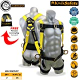 KwikSafety HURRICANE 3D Premium Fall Protection Body Safety Harness w/Back Support | OSHA Approved ANSI Compliant Industrial Roofing Tool | Construction Free Fall Arrest Personal Protection Equipment