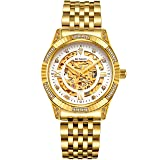 BINLUN 18K Gold Plated Automatic Wrist Watches for Men Luxury Men's Dress Watch (Color: gold-skeleton)