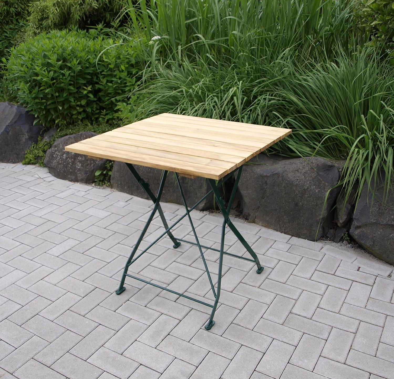 Klapptisch Bad Tölz 70x70cm, Stahl grün + Robinienholz bestellen