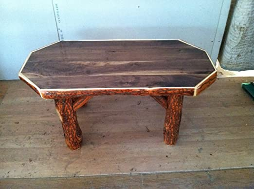 Rustic Sassafras Octagon Coffee Table with Walnut Top