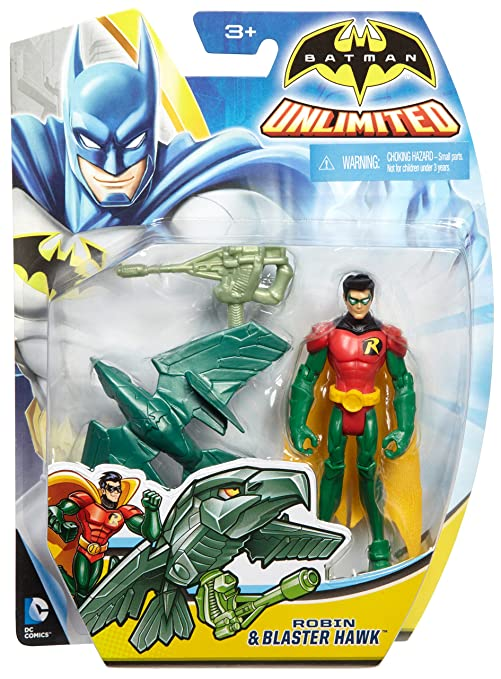 Mattel - Batman Unlimited - Robin & Blaster Hawk - 1 Figurine + 1 Animal