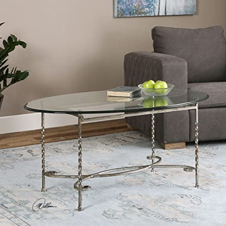 Simple Contemporary Silver Glass Coffee Table | Wrought Iron Twisted Metal