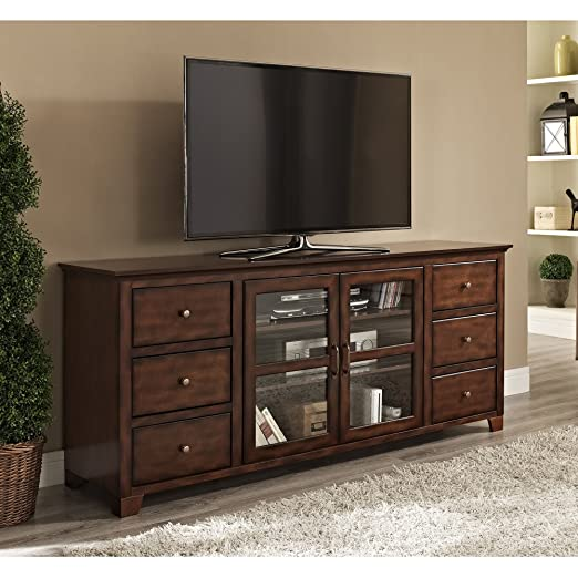 WE Furniture Wood TV Stand, 70-Inch, Antique Brown