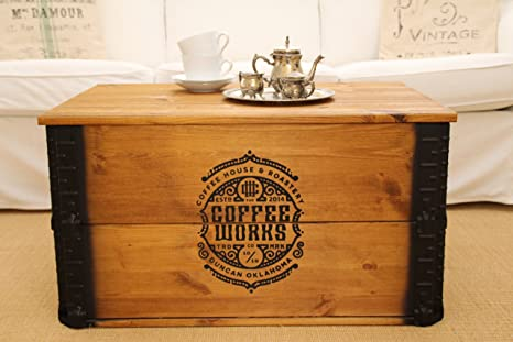Caja de madera baúl mesa de café mesa auxiliar vintage estilo Shabby Chic madera maciza nogal
