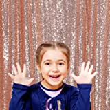 PartyDelight Not See-Through Sequin Backdrop 4FTX6.5Ft Rose Gold for Wedding Curtain, Party, Photo Booth. (Color: Satin Rose Gold, Tamaño: 4X6.5)