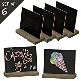 MyGift Mini Tabletop Chalkboard Signs with Rustic Wood Stands, 5 x 6-inch, Set of 6 (Color: Black)