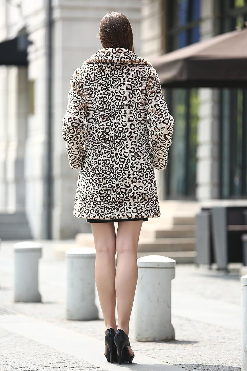 Adelaqueen Women's Elegant Vintage Leopard Print Lapel Faux Fur Coat Mid-Length 5