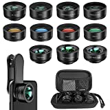 Phone Camera Lens,11 in 1 Cell Phone Lens Kit for iPhone and Android, 0.36X Wide Angle Lens+198°Fisheye Lens+20X Macro Lens+Zoom Telephoto Lens+CPL+Kaleidoscope Lens+Starburst Lens+4 Color Filter Lens (Color: Black 11 in 1 phone lens kit, Tamaño: 11 in 1 phone lens)
