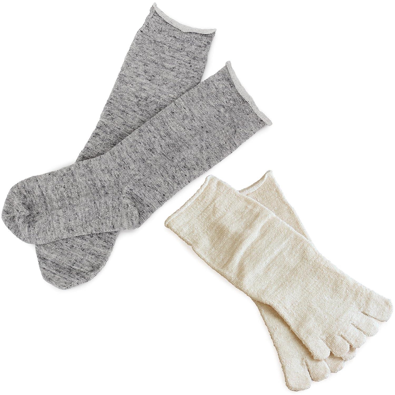 冷えとり靴下 内絹外綿ソックス 2足セット 5本指・カバーソックス <Mサイズ> 日本製 シルク