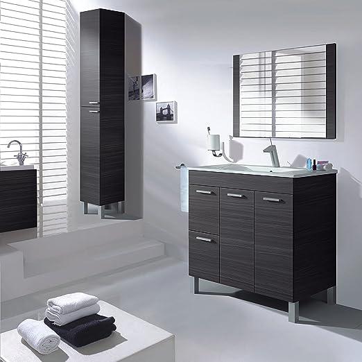 Aktiva Mobile da bagno, 2 ante, 2 cassetti con specchio e lavandino, colore: 800 grigio