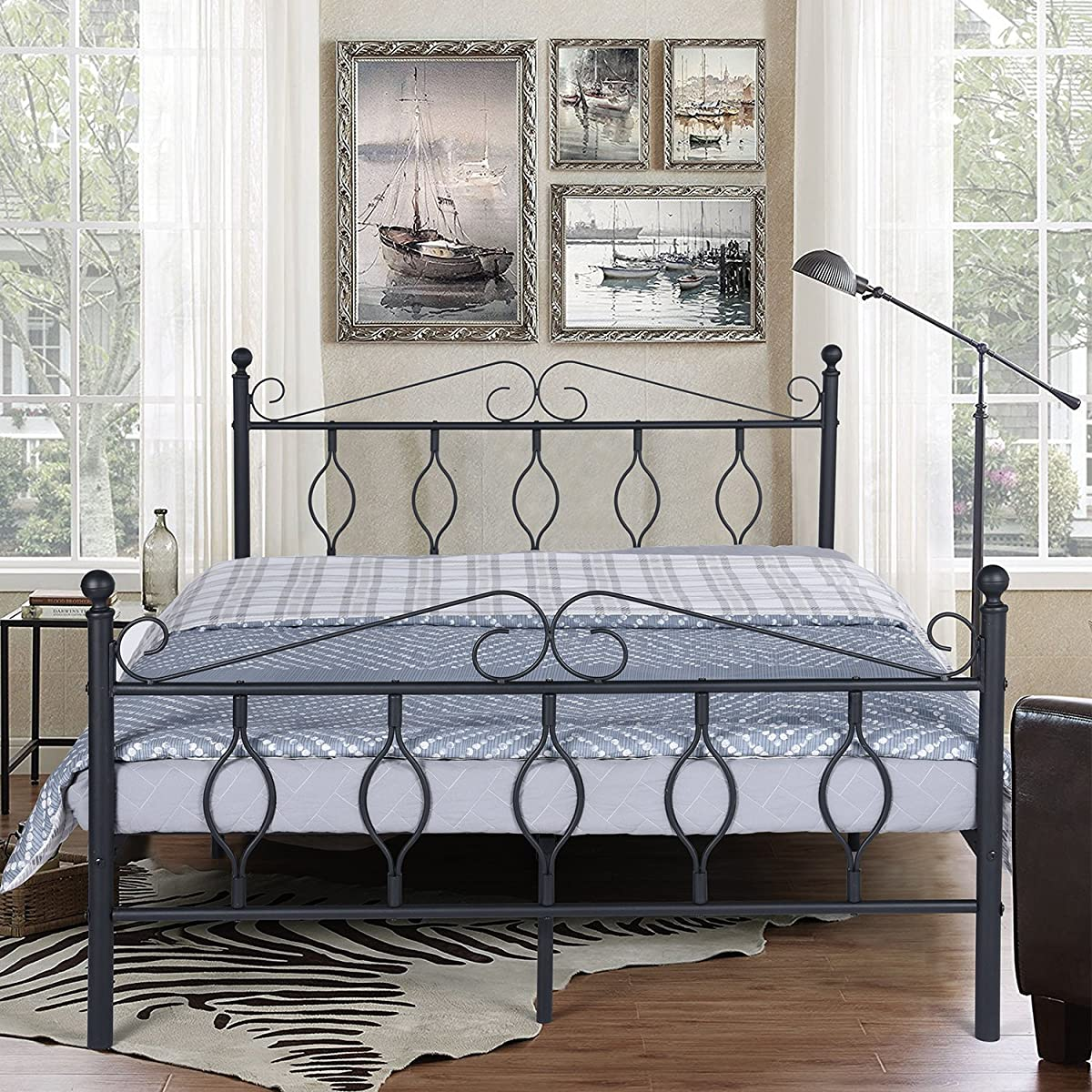 Green Forest GreenForest Full Bed Frame Metal Platform Complete Bed with Vintage Headboard and Footboard Box Spring Replacement Steel Slats Bed, Matte Black Full