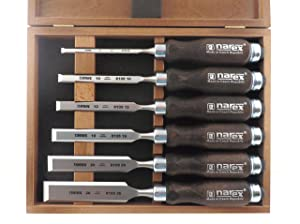 Narex 6 pc set 6mm (1/4), 10 (3/8), 12 (1/2), 16 (5/8), 20 (13/16) , 26 (1 1/16) Woodworking Chisels in Wooden Presentation Box 853053