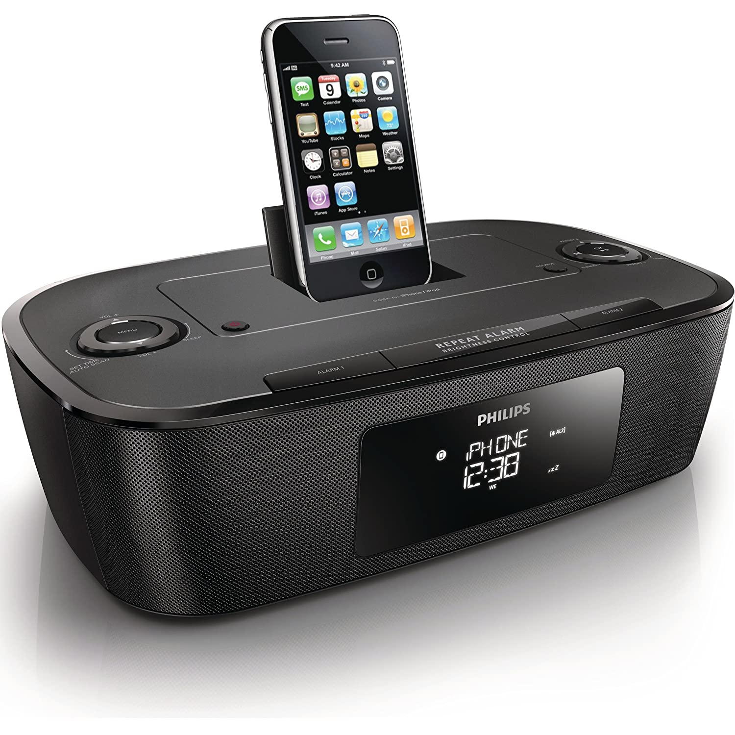 philips dab clock radio for ipod touch iphone 3gs 4 4s docking station speakers ebay. Black Bedroom Furniture Sets. Home Design Ideas