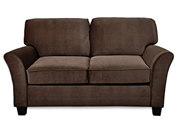 Sofab Muse II Chcolate Love Seat With Two Toss Pillows