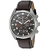 Seiko Men's SNN241 Stainless Steel Watch with Brown Leather Band (Color: Silver)