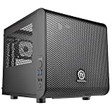 Thermaltake Core V1 SPCC Mini ITX Cube Gaming Computer Case Chassis, Interchangeable Side Panels, Small Form Factor Builds, Black Edition, CA-1B8-00S1WN-00 (Color: Black, Tamaño: Mini ITX)