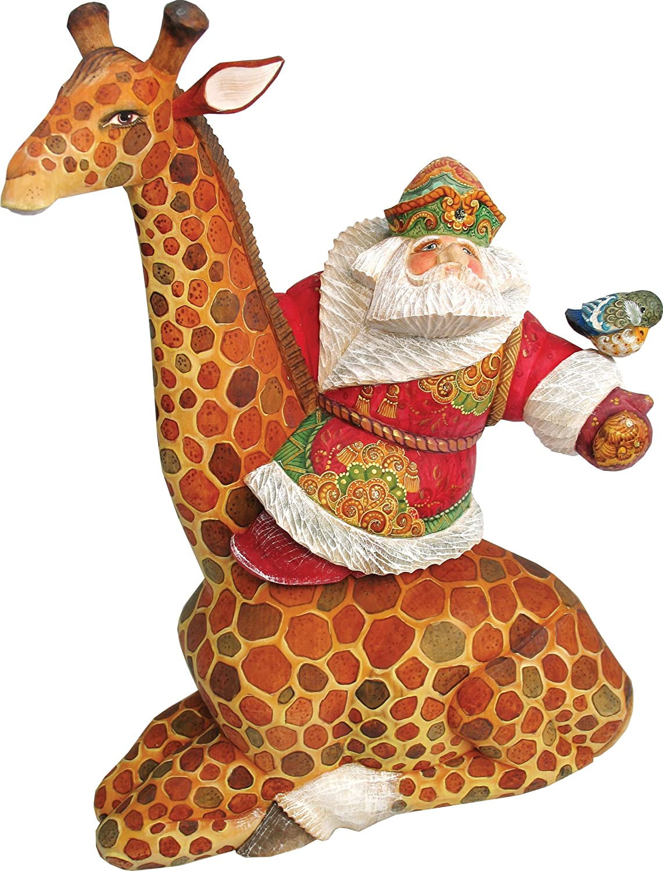Santa on Giraffe Figurine, Handpainted Woodcarved Masterpiece