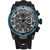 Alexander Vanquish Nikos Mens Blue PVD Stainless Steel Bezel Day Date Black Face Black Rubber Band Swiss Automatic Chronograph Watch A422-03